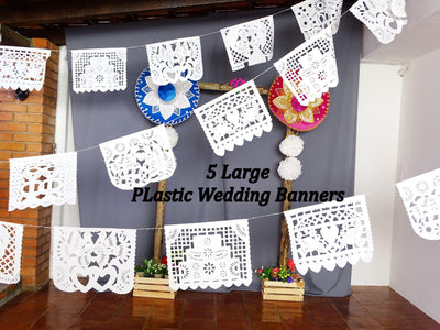 White Mexican Banner, 5 Plastic Wedding Garlands, Mexico wedding, 16 Feet Long, Fiesta decoration, B41