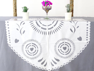 White papel picado table decorations, plastic 39X36 Inches MF3