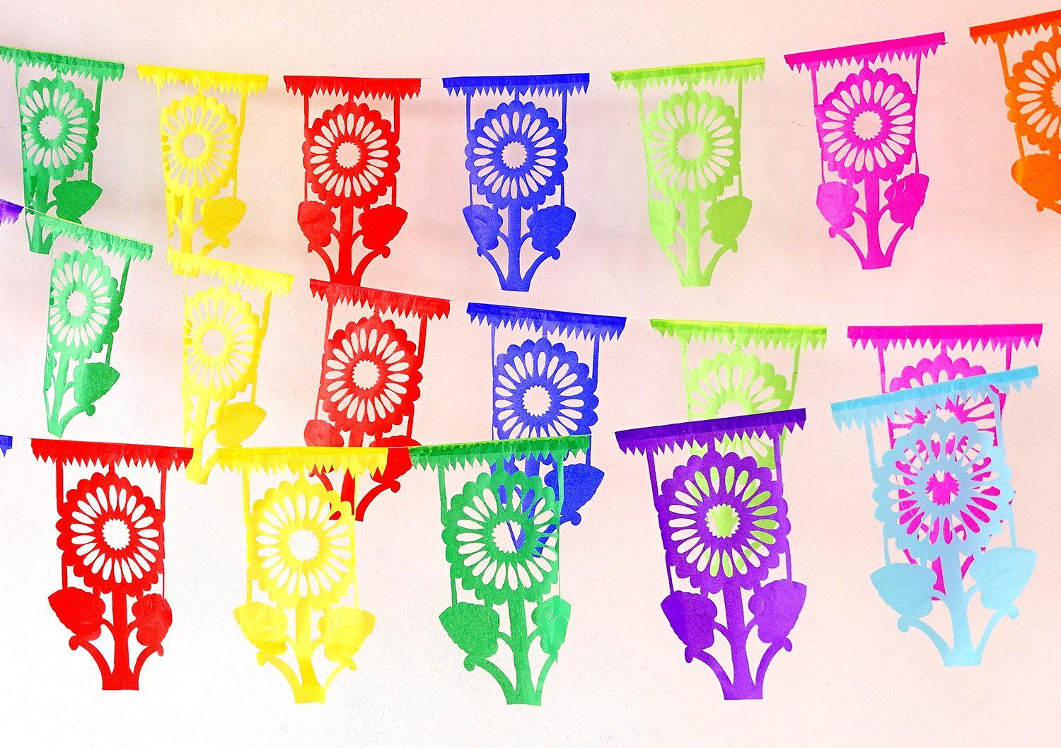 5 Pk Floral Cinco de Mayo Decorations, Papel Picado Banners Over 45ft long FLOR10