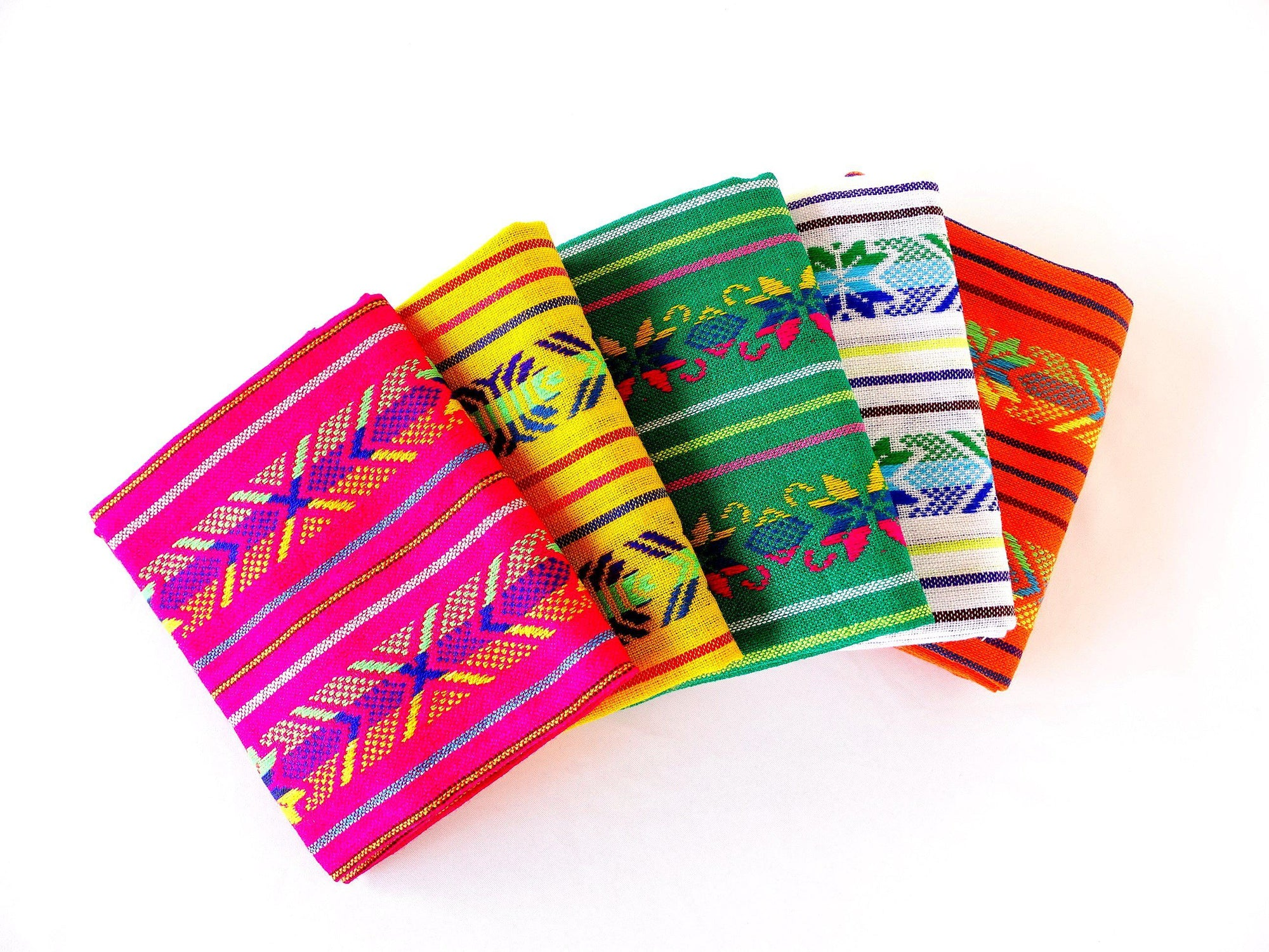 5 Mexican Fabrics, Fabric by half yards, Fiesta Decoration, Cinco de Mayo, Tribal fabric.
