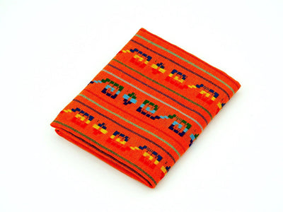 Mexican fabric by the yard, Orange Aztec fabric, Tribal fabric from Mexico, Cinco de Mayo Decoration, FAB323