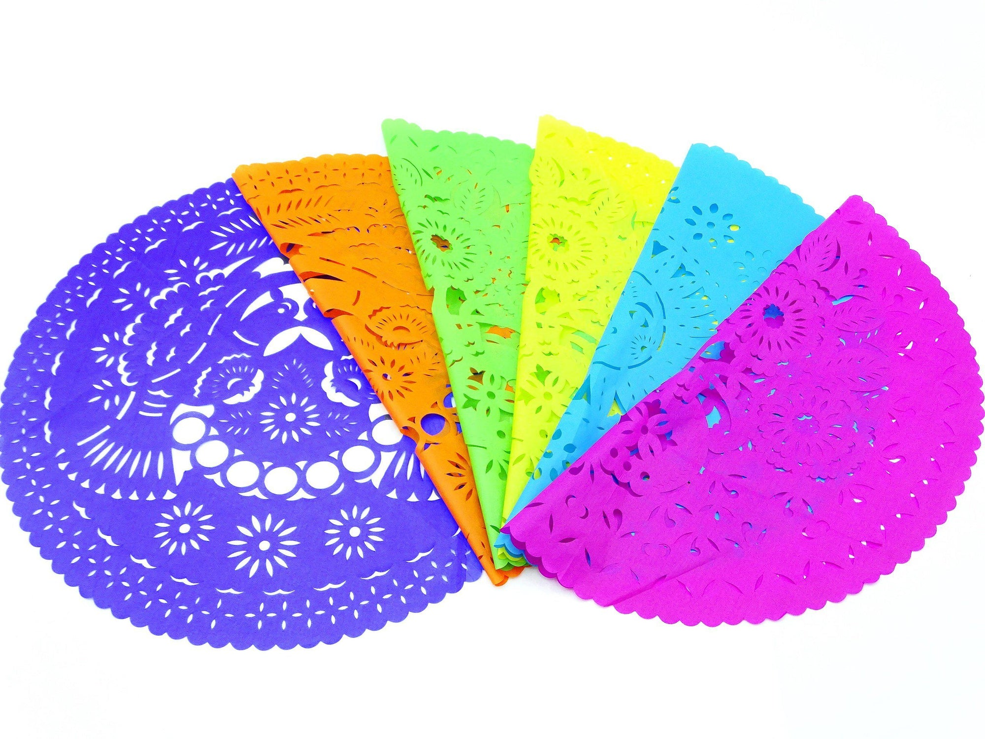 4 Papel picado place mats, Mexican Party decorations