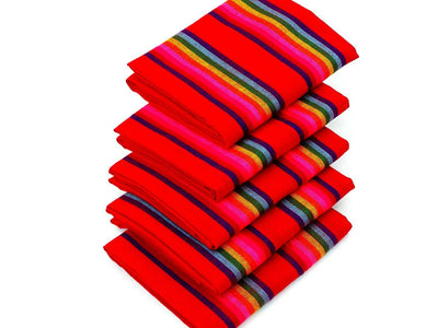 Mexican fabric by the yard - Red with colorful stripes