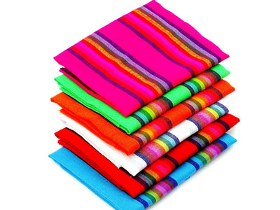 Mexican Fabric, 6 Half yards, Mexican Striped Fabrics - Assorted Colors, Fiesta decoration.