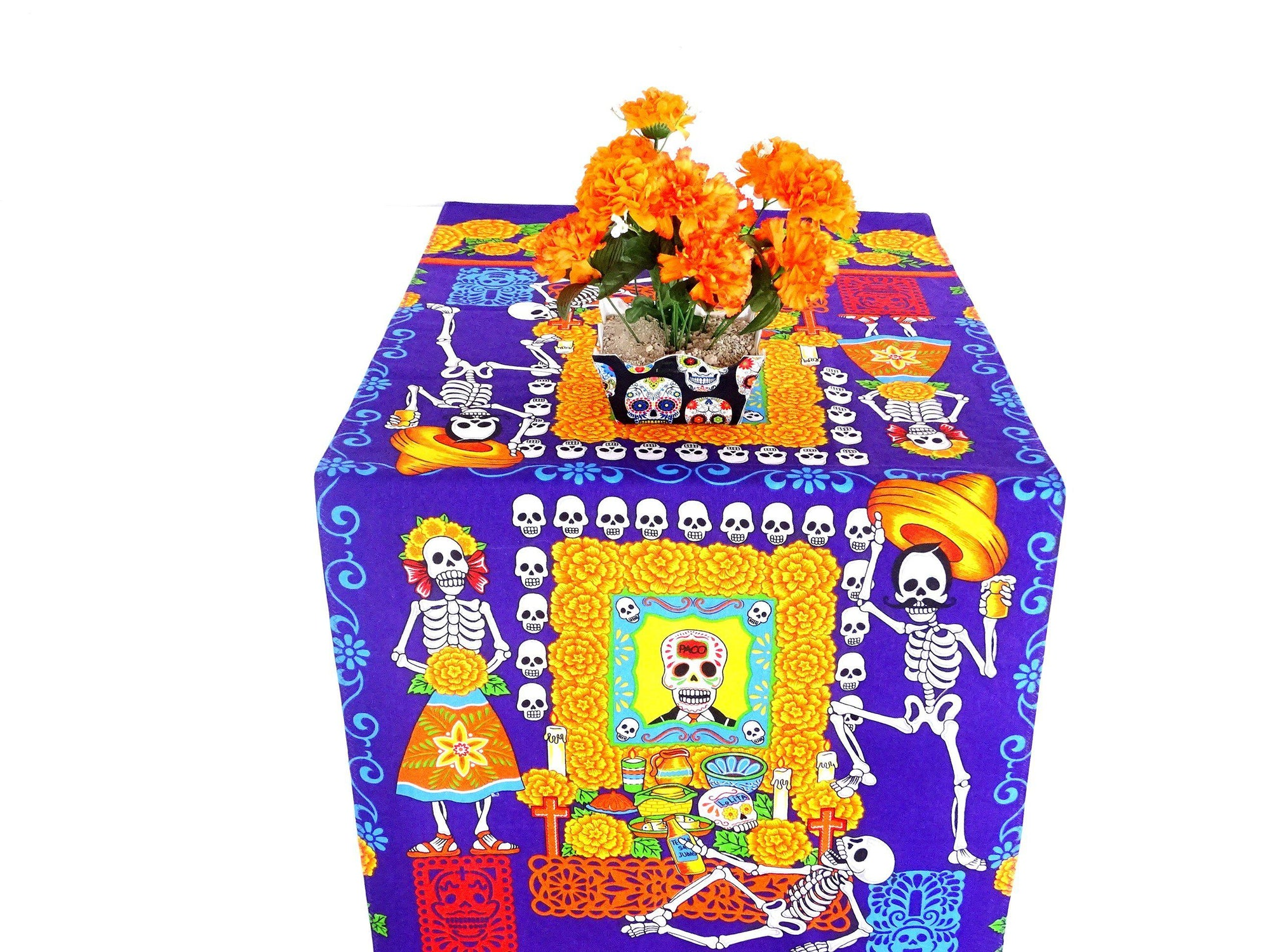 Mexican Table runner, Dia de Muertos Decorations, Day of the Dead Party Supplies Altar TRM3