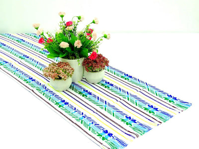 Mexican table runner, White Table runner 14x72 Inches, Fiesta Decoration, Cinco de Mayo, 14X72TRC736