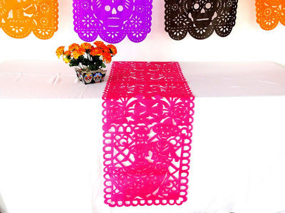 PINK Mexican day of the dead sugar skull, dia de muertos decorations, Halloween Table Runner, FTRM