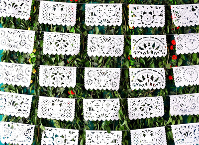 White Mexican Banner 60 Feet Long, Fiesta decoration, Party decor, Papel picado WS700