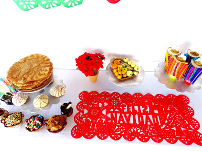 Feliz Navidad Papel picado Mexican table runners, 20X39 Inches