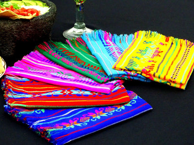 Mexican Woven Napkins, Bulk set of 6 Assorted Colors NAP001