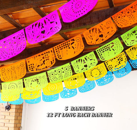 Papel picado Bachelorette party, 5 Pack Banners, papel picado decor, Fiesta Decorations Garland, Mexican Party Supplies, 60 feet long, Fiesta party banner