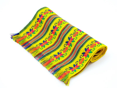 Mexican table runner in Yellow, Fiesta Party Decorations, Cinco de Mayo.