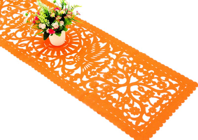 Synthetic fabric papel picado runner Orange FTR6