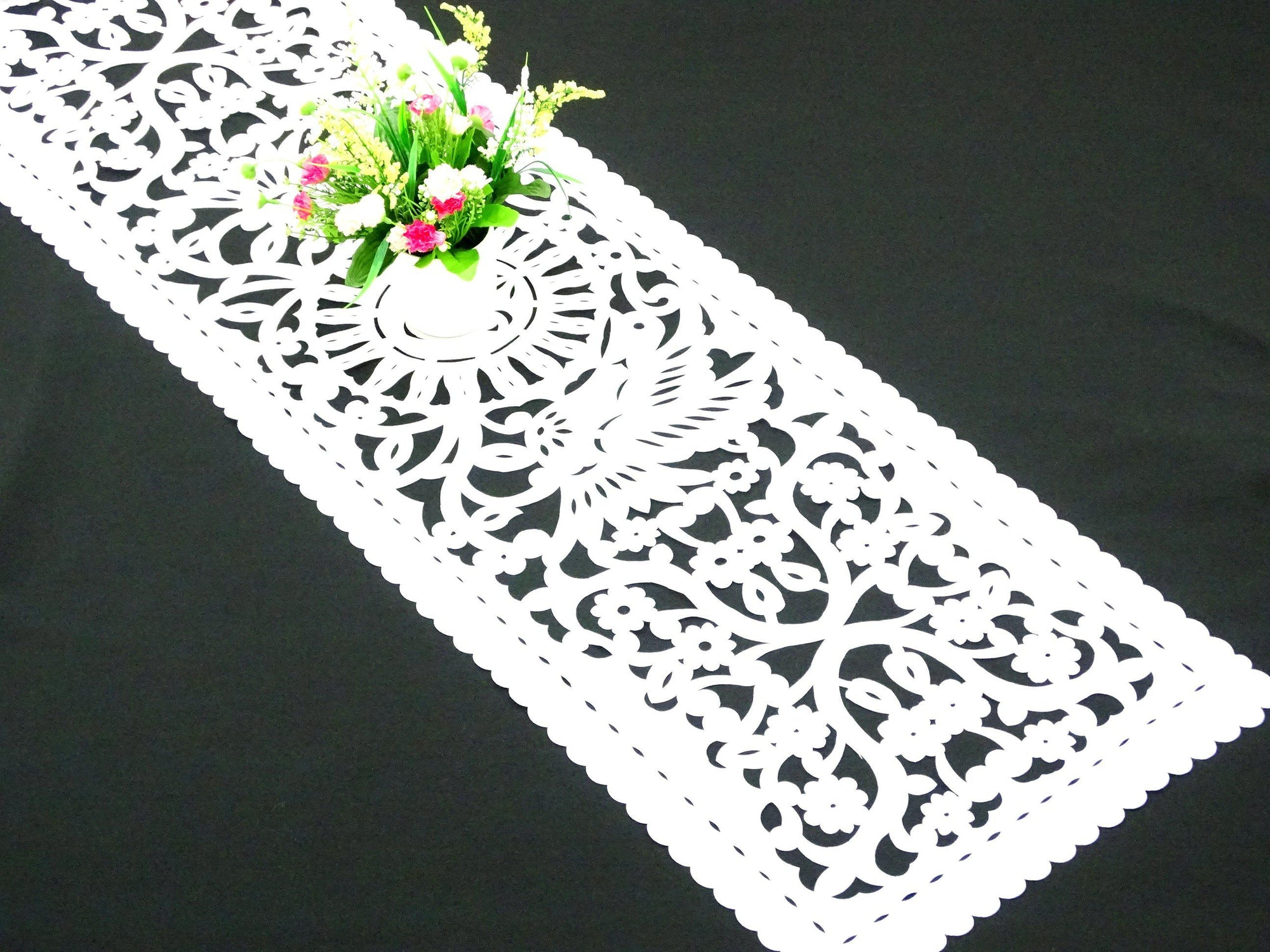 Mexican wedding, papel picado table runner, WHITE synthetic fabric, fiesta decorations, Cinco de Mayo party supplies, lace look table runner, FTR7