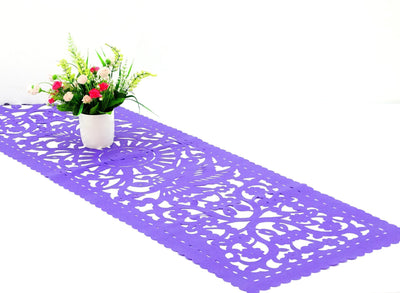 Purple fabric Mexican Runner Papel Picado FTR8