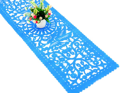 Mexican table runner  14X60 Inches, synthetic fabric Aqua Blue table runner, Fiesta Decoration, Birthday Decoration, Cinco de Mayo, FTR1