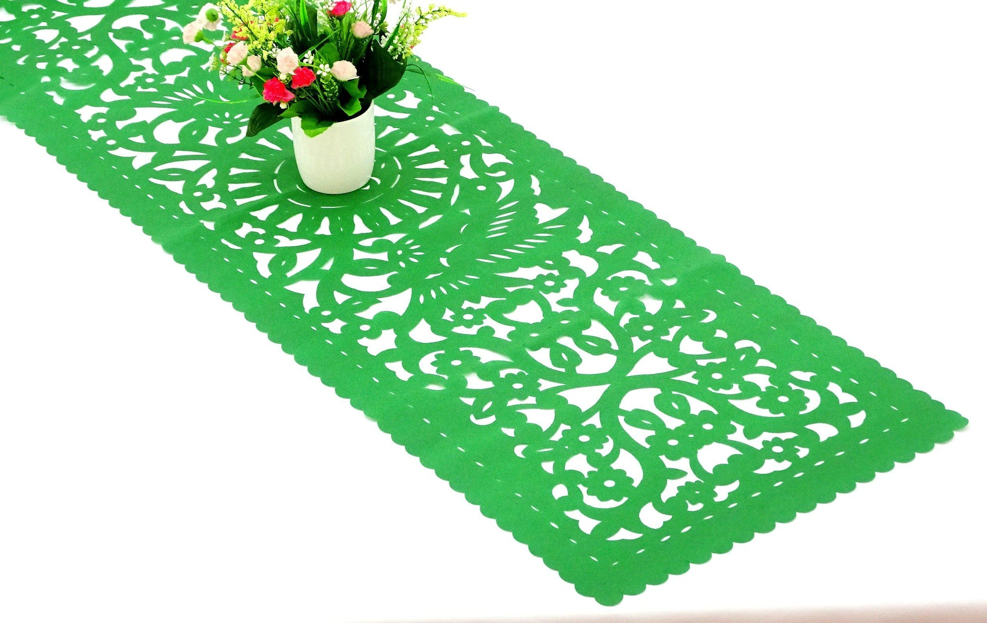 Cinco de Mayo, Papel picado table runner, Green synthetic fabric, table topper, Mexican fiesta party decorations, FTR3