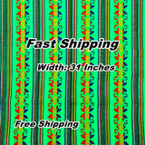 Authentic Mexican fabric, Fiesta decoration, Green Boho Fabric.