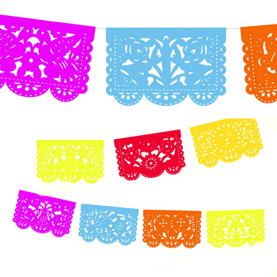 Fiesta Decorations - Colorful Small papel picado 20ft