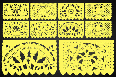 Papel Picado, Pastel Yellow Mexican banner, 12 feet Long, Fiesta decoration, SB4