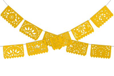 Papel Picado, Yellow Mexican banner, 12 feet Long, Fiesta decoration, SB3