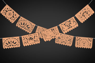 Papel Picado, Peach banner, 12 feet Long, Fiesta decoration, SB10