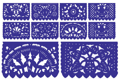 Papel Picado, Royal Blue Mexican banner, 12 feet Long, Fiesta decoration, SB15