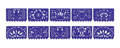 Papel Picado, Royal Blue, Mexican banner, 12 feet Long, Fiesta decoration, SB15