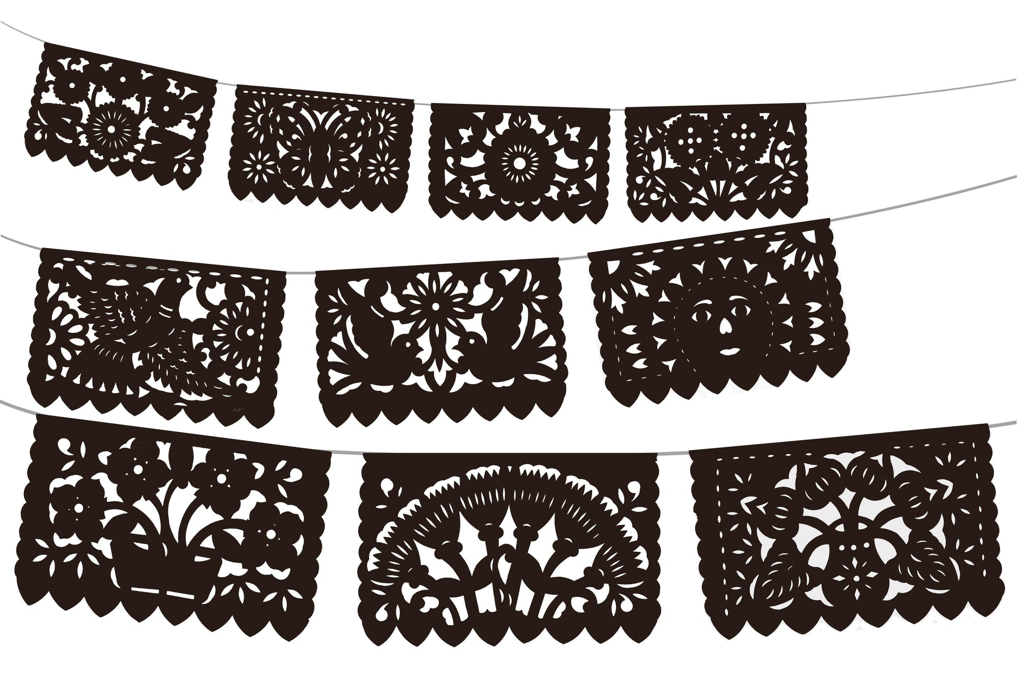 Black Papel Picado Party Banners 5 pack, Mexican Decoration, WS250