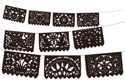 Black Papel Picado Party Banners 5 pack, Mexican Decoration WS250