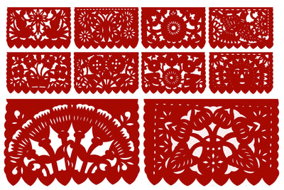 Papel Picado, Red Mexican banner, 12 feet Long, Fiesta decoration, SB7