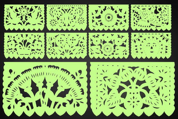 Papel Picado, Light green, Mexican banner, 12 feet Long, Fiesta decoration, SB14
