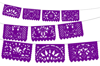 5 PK Purple Papel Picado Mexican Fiesta Decorations 60 feet long WS2010