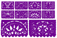 Papel Picado, Purple Mexican banner, 12 feet Long, Fiesta decoration, SB5