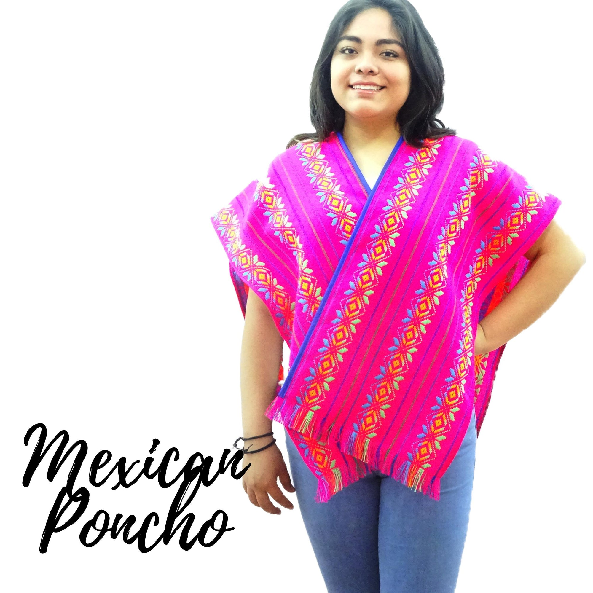 Mexican Poncho, Tribal Fabric Wrap