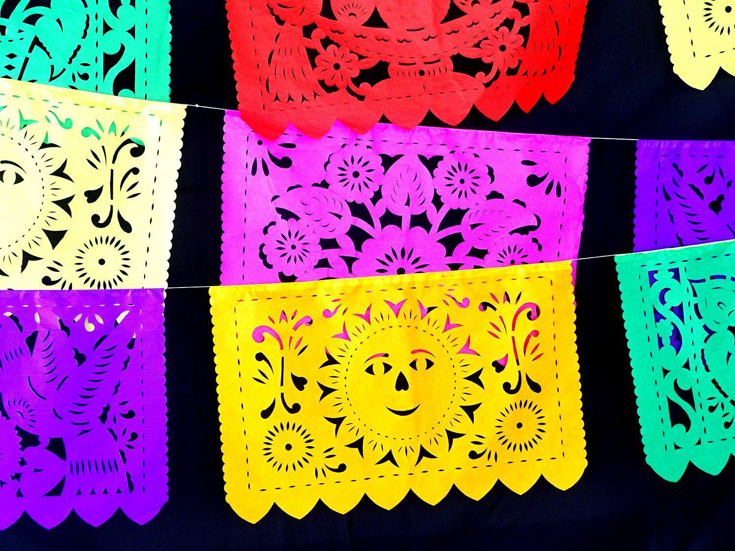 Papel Picado banner, Tissue Paper Multi-Colored 16FT B272