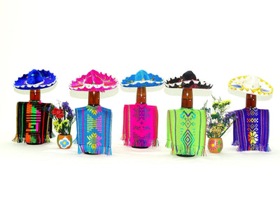 Holiday Party Collection - Bottle Covers, Mexican Fiesta Decoration, Wedding Decoration, Aztec Fabric, 5 Botlle Covers 5x12 Inches, Drinkware, Beverage Cover …