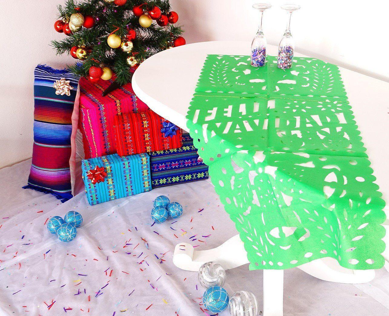 Mexican Christmas.Feliz Navidad Mexican Christmas Decor Green Table Runner Holiday Decorations Holiday Party Decor Fiestas Navidenas