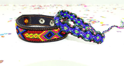 Mexican Bracelets - Embroidered Mexican, Fiesta Bridesmaid, Hippie Bracelet, Ethnic.