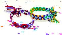 Mexican Bracelets - Ethnic Jewerly, 9 Inch Mexican Bracelet, Colorful Fabric Cuff, Friendship Bracelet.