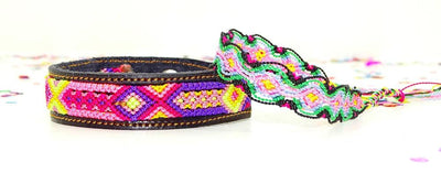 Mexican Fabric - Hippie Bracelet, Ethnic Jewerly, Leather Bracelet, Mexican Bracelet.