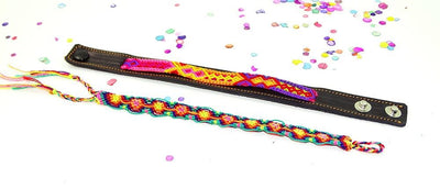 Mexican Fabric - Leather Bracelet, Mexican Bracelet, Friendship Bracelet, Fabric Jewellery.