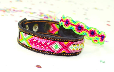 Mexican Fabric - Mexican Bracelet, Mexico Embroidered, Hippie Bracelet, Ethnic.