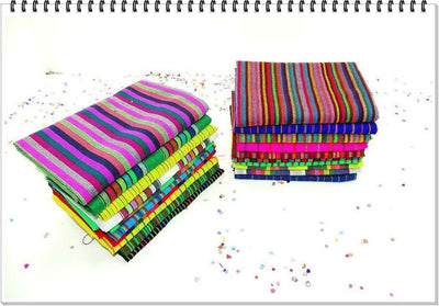 Mexican Fabric - Mexican Fabric Half Yard Bundle Stripes/Set Of 20