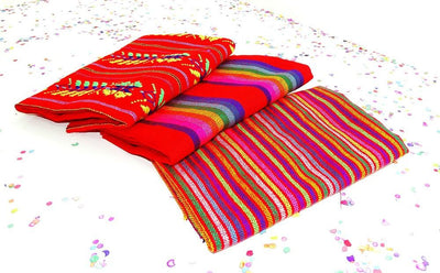 Mexican Fabric - Mexican Party Decorations, Mexican Embroidered Fabric By The Half Yard, Tela Mexicana.