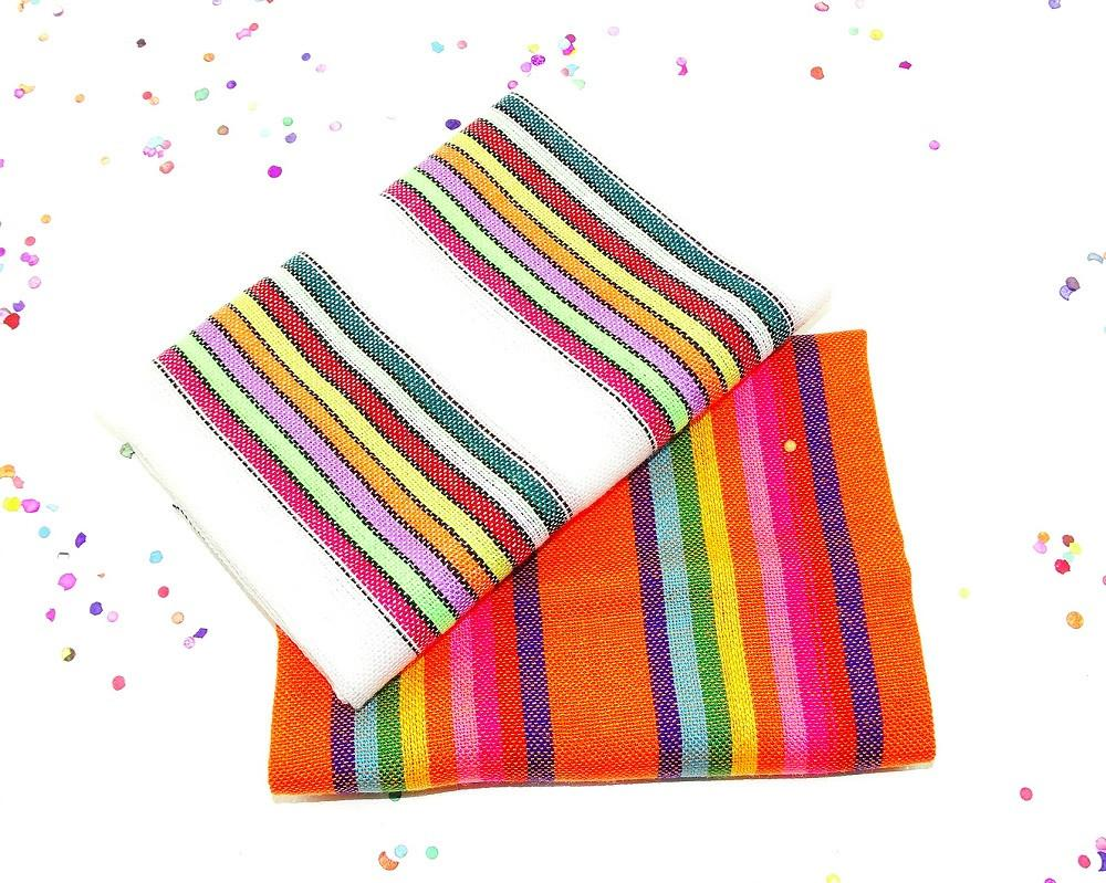 Mexican Fabric - Mexican Striped Fabric, Traditional Mexican Fabric, Fiesta Party Decor.