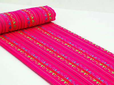 Mexican Fabric - Tribal Fabric By The Yard, Pink/Star FAB54