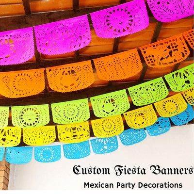 Mexican Party Decorations, Papel Picado Custom Banner, Personalized Fiesta Garland Over 50 Feet Long SB114
