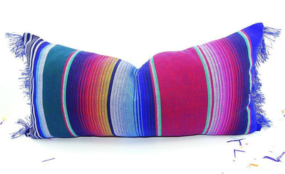 Mexican Pillow Cover - Blue Long Bolster Pillow Cover 14x28, Tribal Aztec Mexican Cushion, Throw Boho Chic, Lumbar, Feliz Navidad, Mexican Pillow Shams