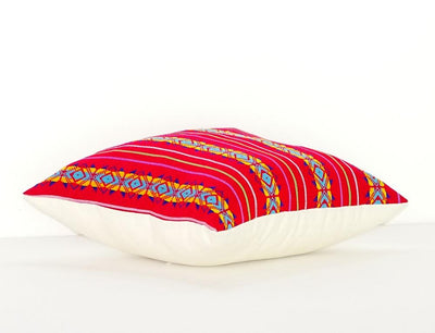 Mexican Pillow Cover - Colorful Pillow Cover, Dark Pink Mexican Pillow, Embroidered Case Aztec Boho, Fiesta Decoration
